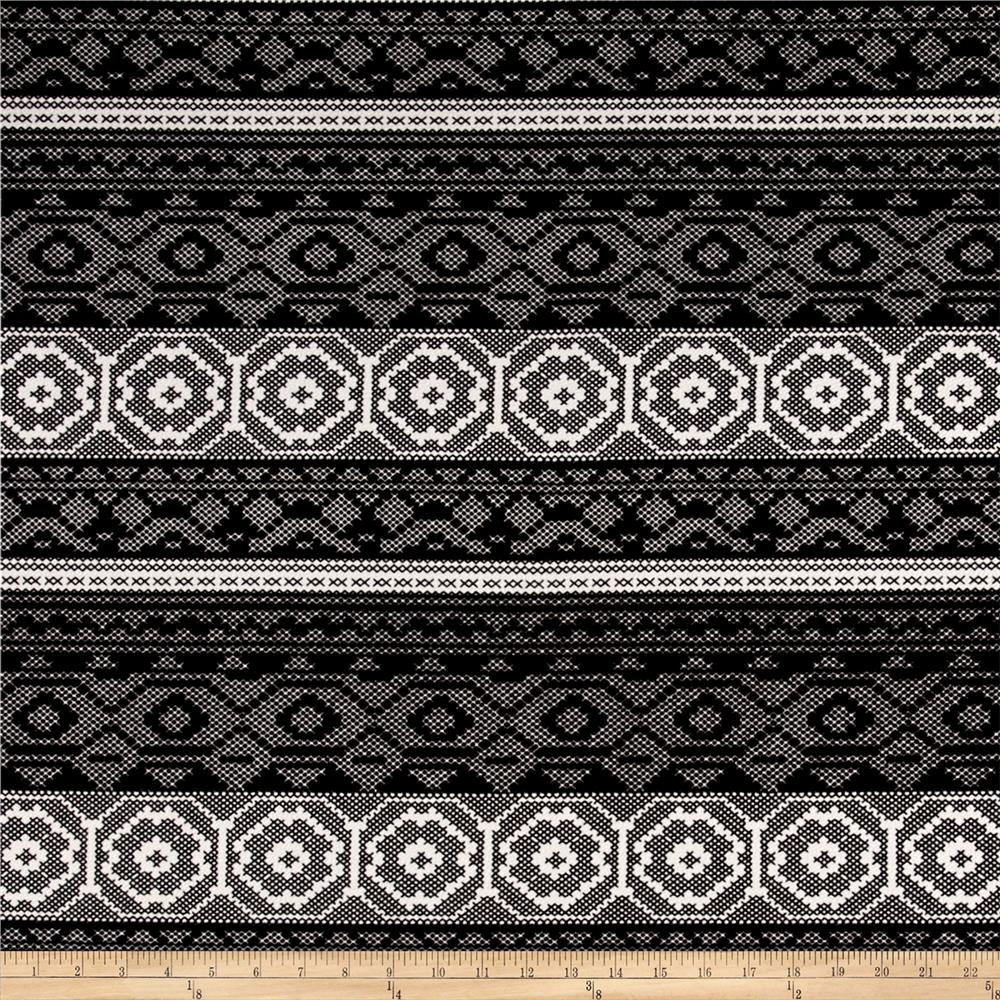 Polyester Double Knit Aztec Print Black/White Fabric