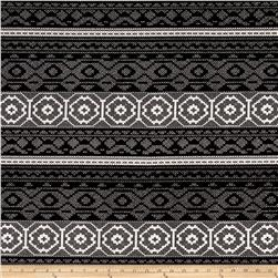 Polyester Double Knit Aztec Print Black/White