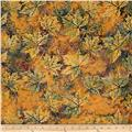 Bali Batiks Maple Leaves Pumpkin