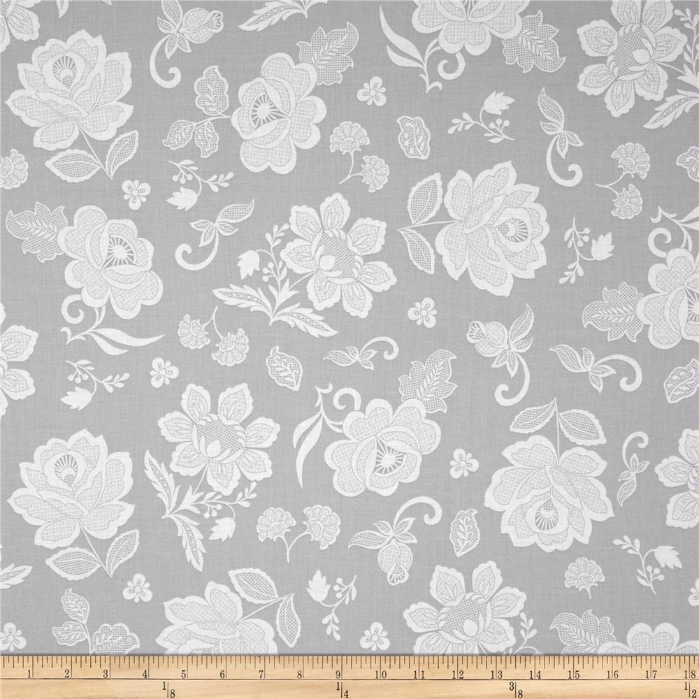 Hoffman Simply Eclectic Lace Floral Fog Fabric