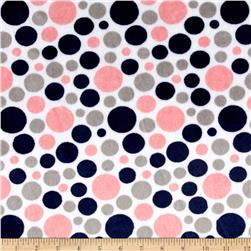 Shannon Minky Classic Bubble Dot Cuddle Coral/Navy