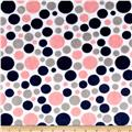 Shannon Minky Cuddle Bubble Dot Coral/Navy