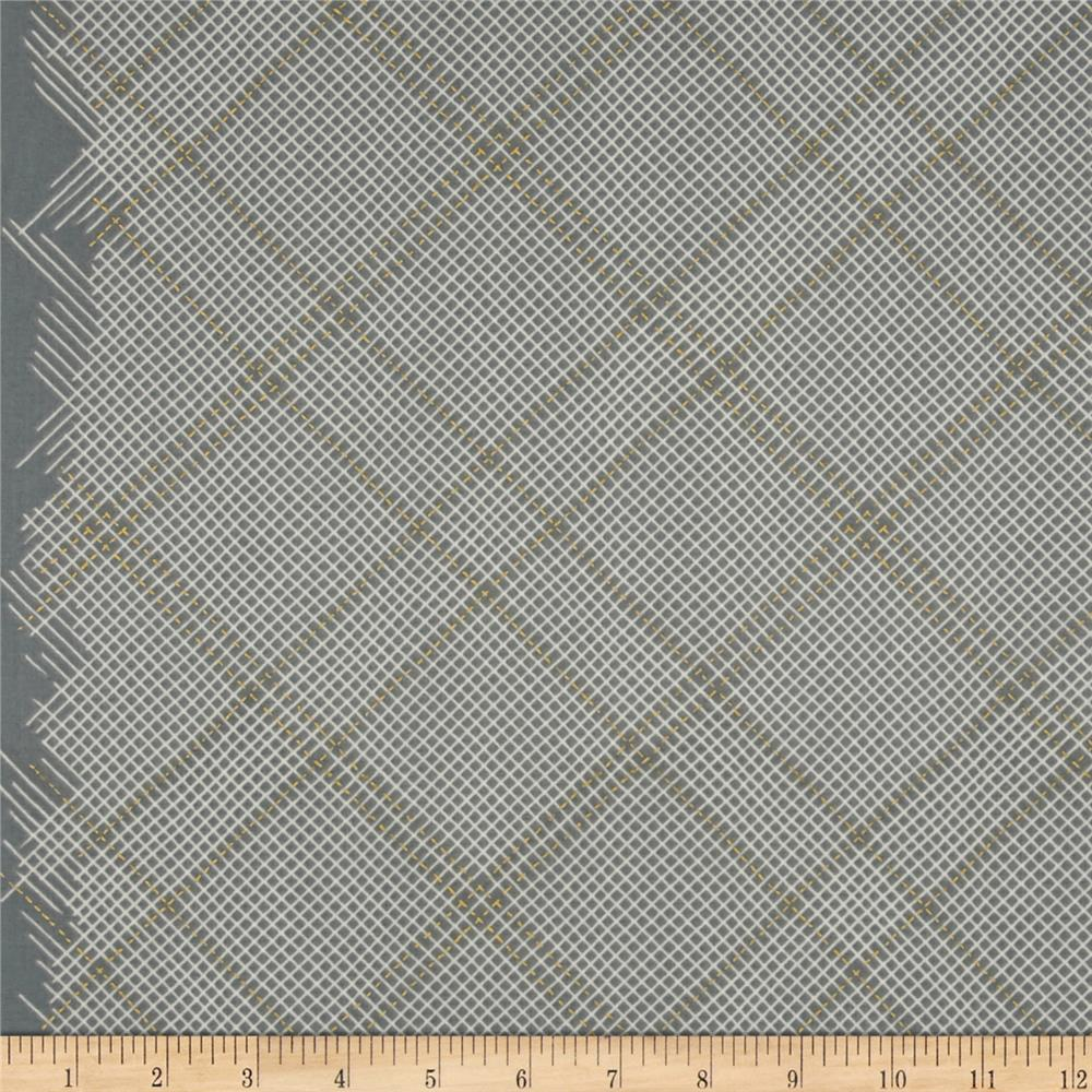 Kaufman Carkai Metallic Diagonal Plaid Shale