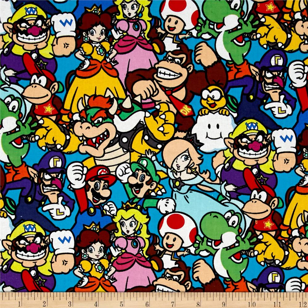 Nintendo super mario packed characters multi discount for Kids character fabric