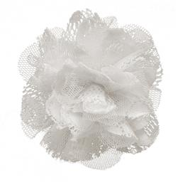 4'' Lace Flower Brooch And Hairclip White