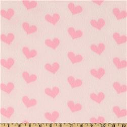 WinterFleece Hearts Fleece Print Light Pink
