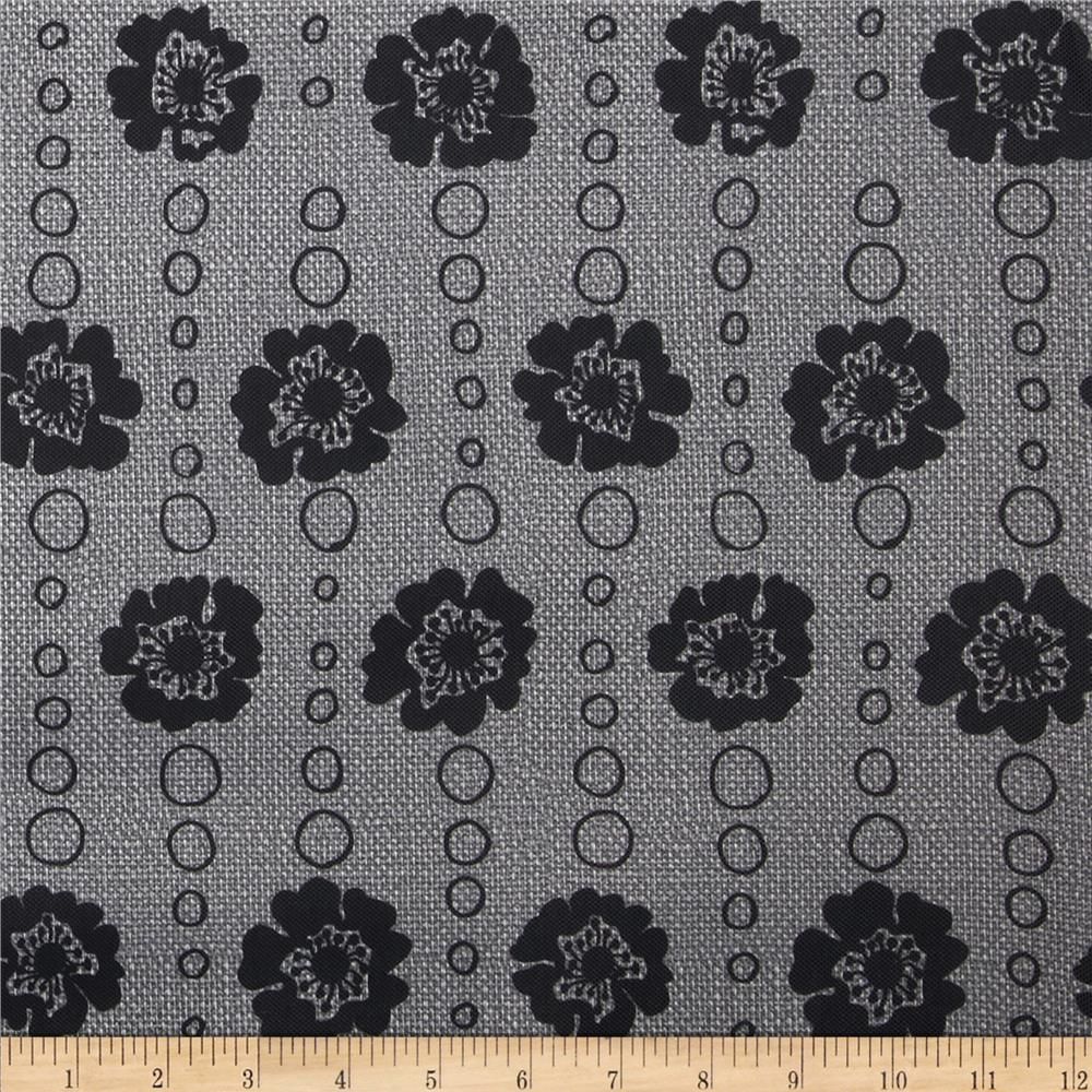 Bartow Indoor/Outdoor Strip of Poppies Black/Grey