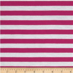 Yarn Dyed Jersey Knit Stripes Hot Pink/White