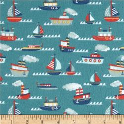 Riley Blake Fly Aweigh Flannel Boat Teal Fabric