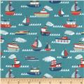 Riley Blake Fly Aweigh Flannel Boat Teal