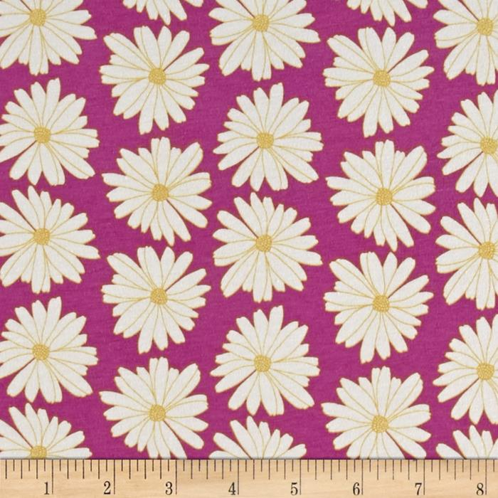 Art Gallery Anna Elise Knit Daisies Lilac Scent Fabric By The Yard