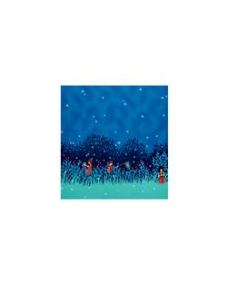 Michael Miller Wee Wander Flannel Summer Night Lights Double Border Twilight