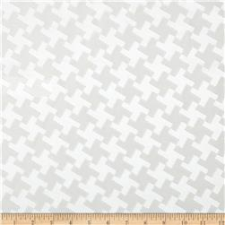 Starlight Satin Houndstooth Jacquard Snow White Fabric