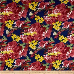 Stretch Ponte de Roma Knit Florals Navy/Red Fabric