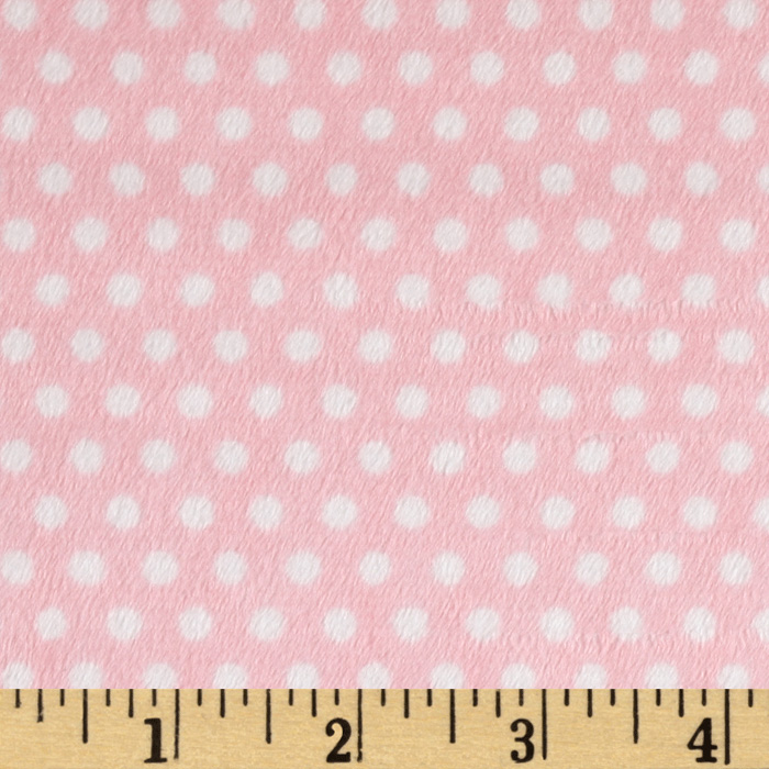 Minky Cuddle Classic Swiss Dot Blush/White Fabric