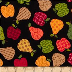 Kanvas Fall Festival Apples to Pears Black Fabric