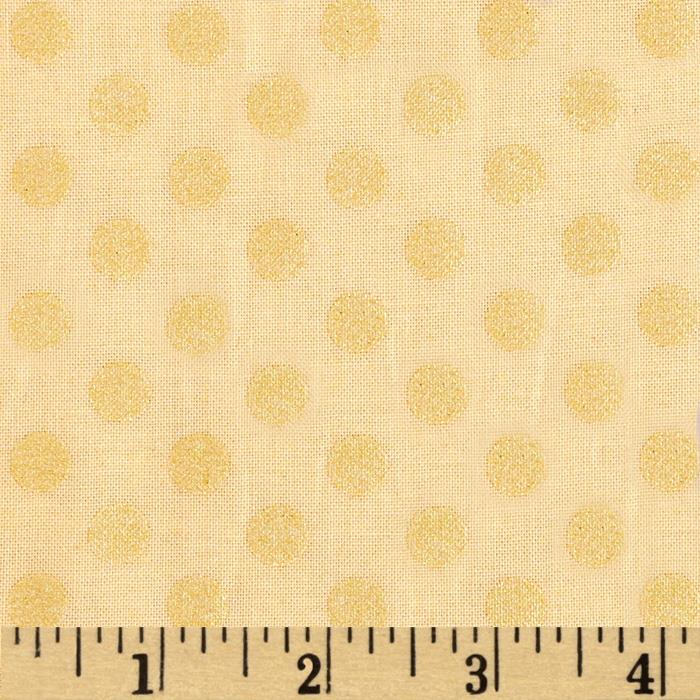 Kaufman Spot On Pearl Metallic Medium Dot Buttercup
