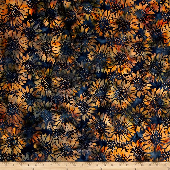 Island Batik Sunflower Blue/Orange