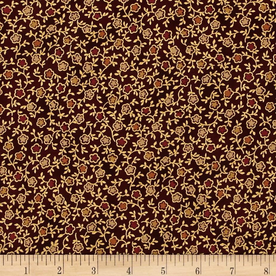 Talia Metallic Mini Floral Cinnabar/Gold