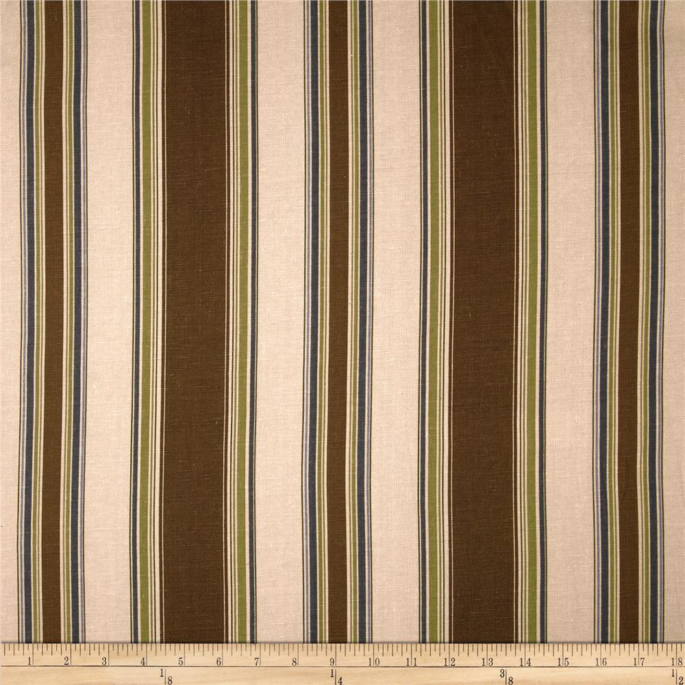 Duralee Banks Stripe Blend Brown