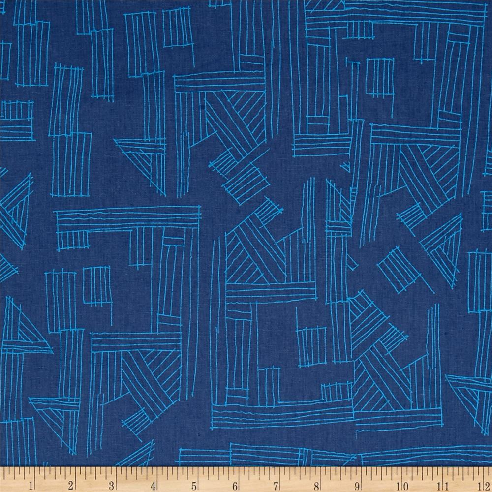 Kaufman Euclid Printed Linen Etchings Cadet Fabric By The Yard