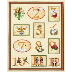 Timeless Treasures Twelve Days of Christmas 36 In. Metallic Panel Cream