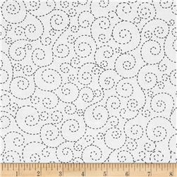 Timeless Treasures Stitch Scroll White Fabric