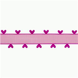 1'' Organza Ribbon Heart Edge Fuchsia