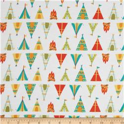 Happy Camper Flannel Teepees + Tents White Fabric