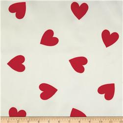 Acetate Taffeta Hearts White/Red