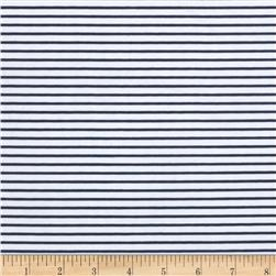 Designer Cotton Poplin Stripes Navy/White