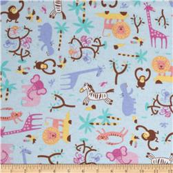 Jungle Animals Flannel Blue