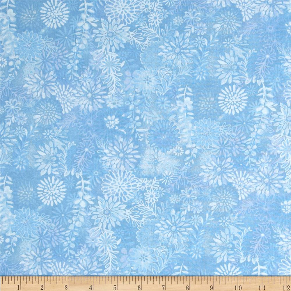 Packed Floral Tonal Light Blue