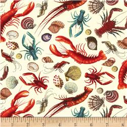 Under the Sea Lobsters Sand Fabric