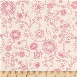 "110"" Wide Quilt Back Signature Cream/Pink"