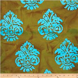 Indian Batik Arcadia Damask Turquoise/Bronze