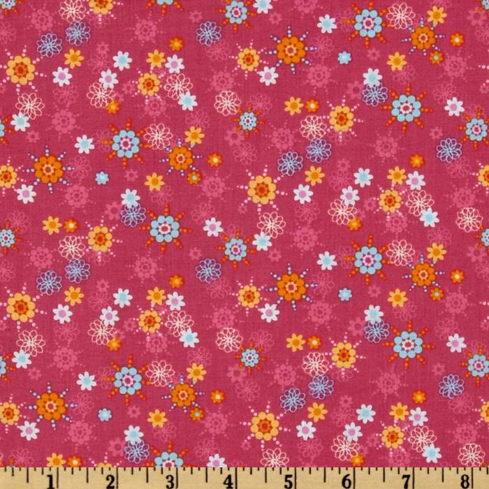 Owls Abstract Flower Pink/Multi