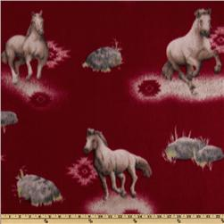Novelty Fleece Southwest Horse Red