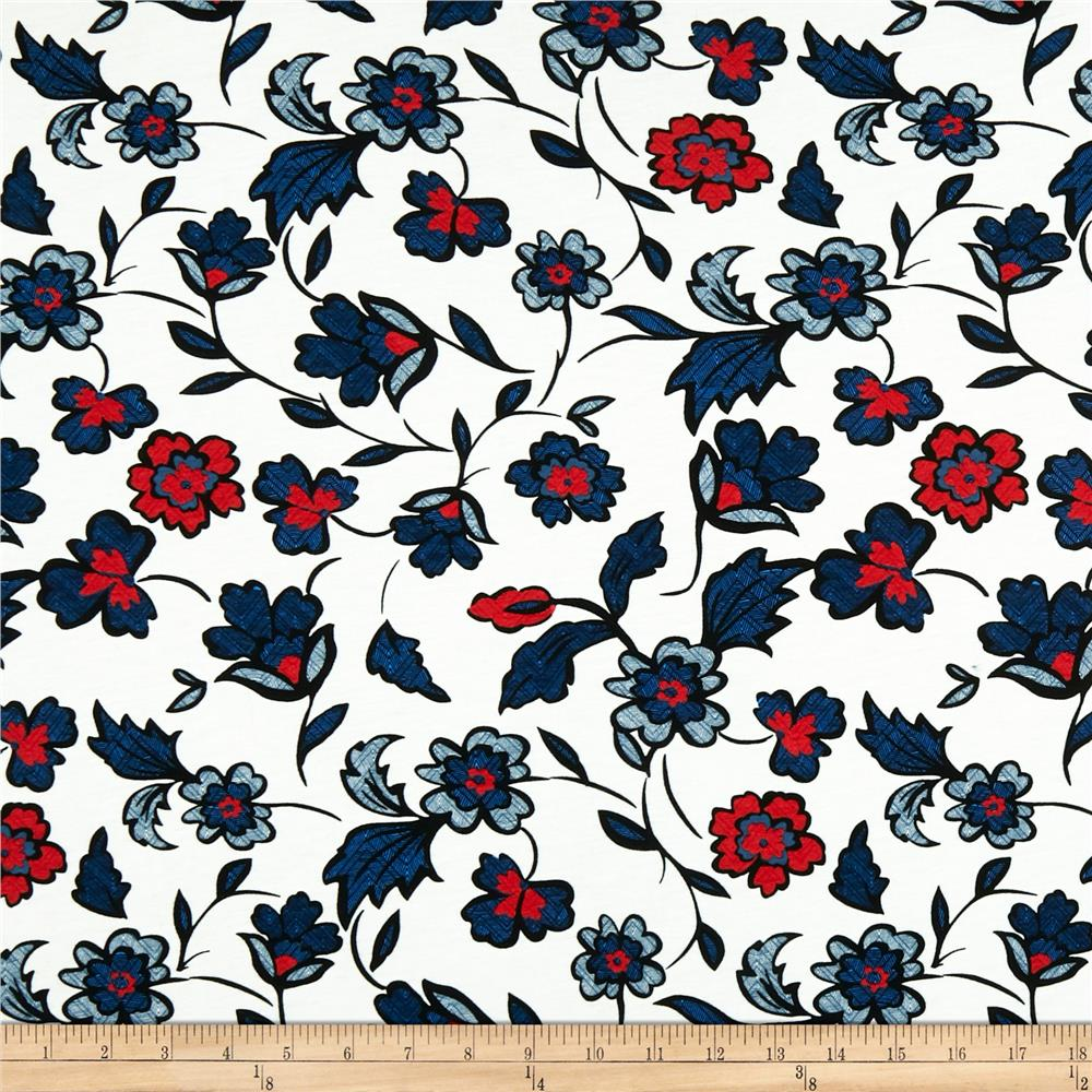 Muted Blue And Floral Red: Folk Floral Jersey Knit Blue/Red/Black/Off-white
