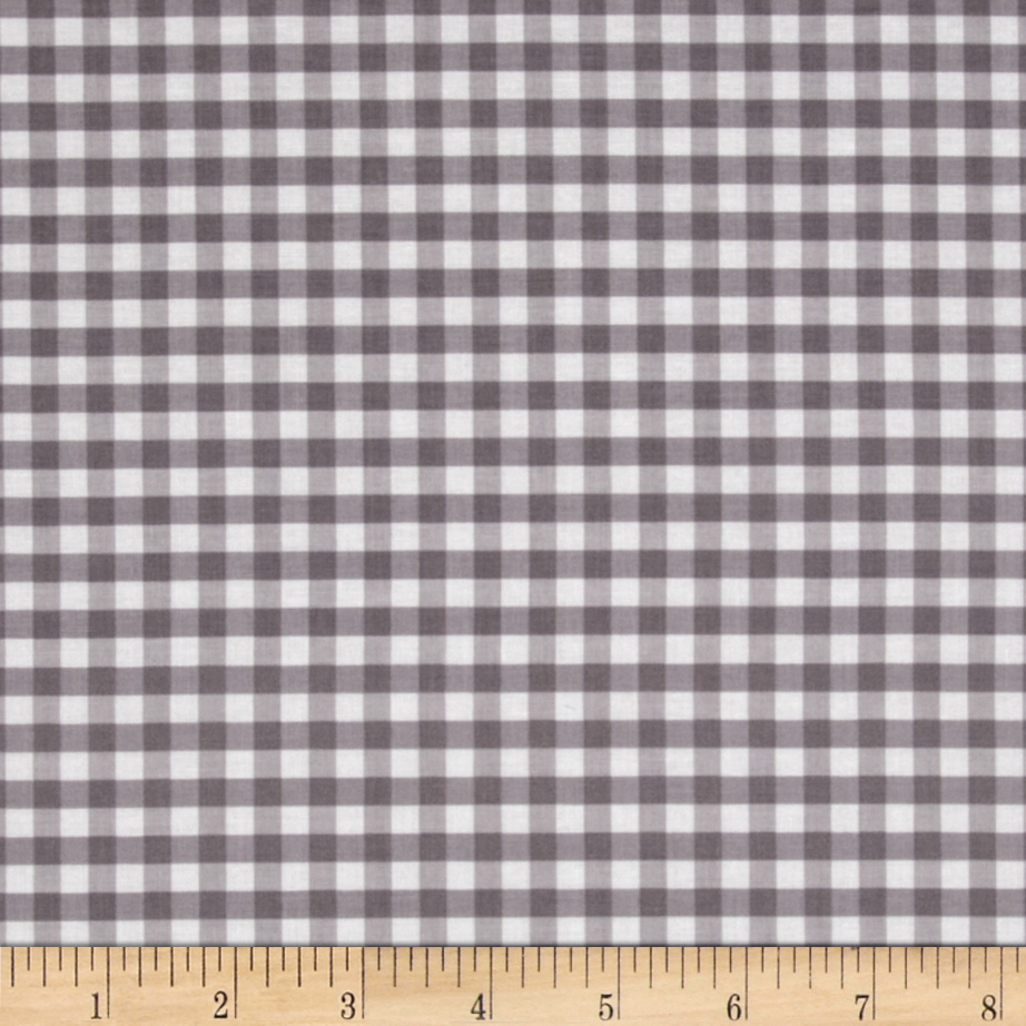 Riley Blake Medium Gingham Grey Fabric