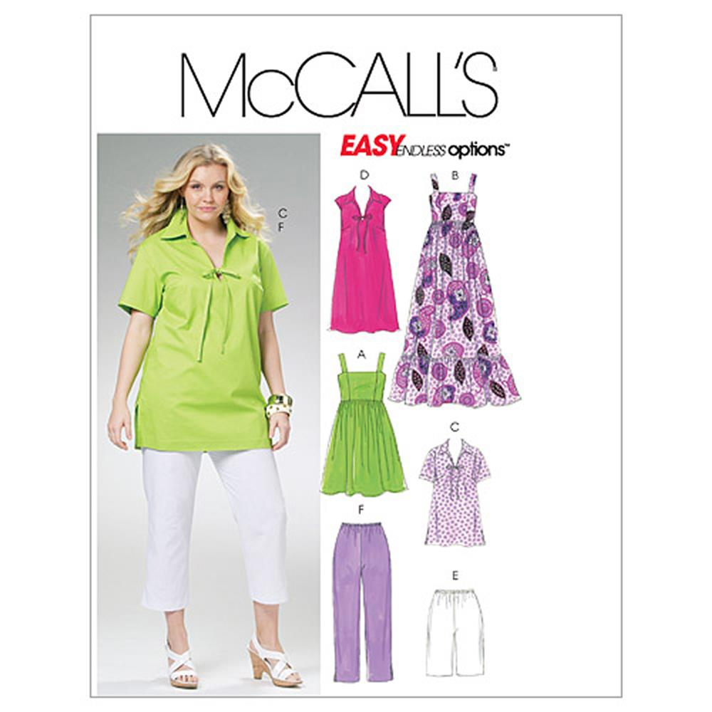 McCall's Women's Tops, Dresses, Shorts and Capri Pants Pattern M6085 Size KK0
