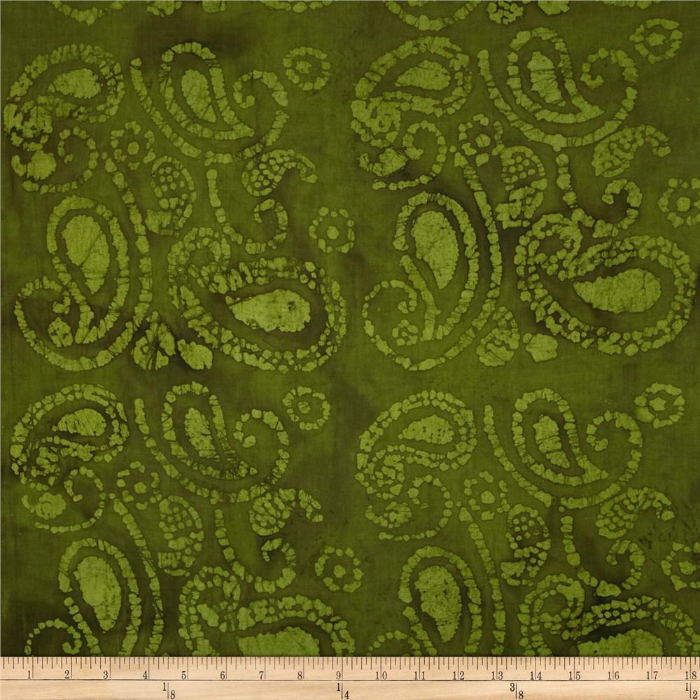 Indian Batik Large Tossed Paisley Hunter Green