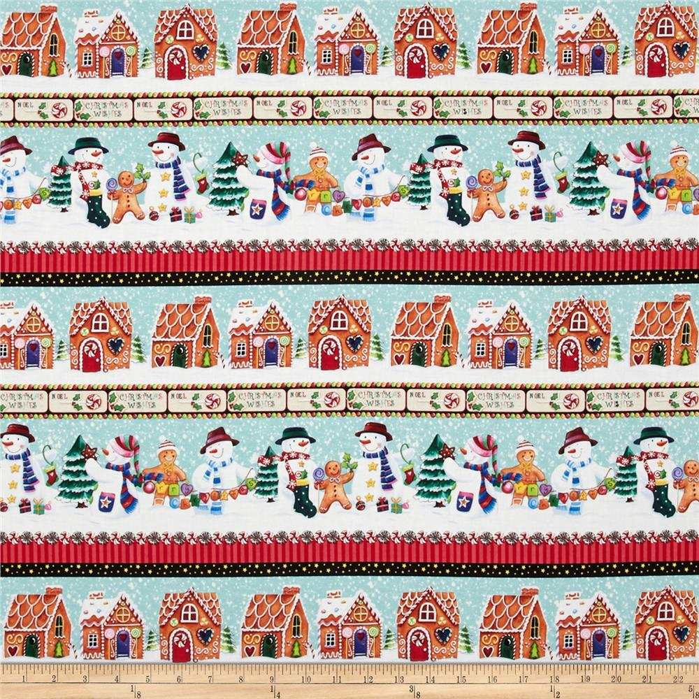 Happy Holidays Snowmen Stripe Multi