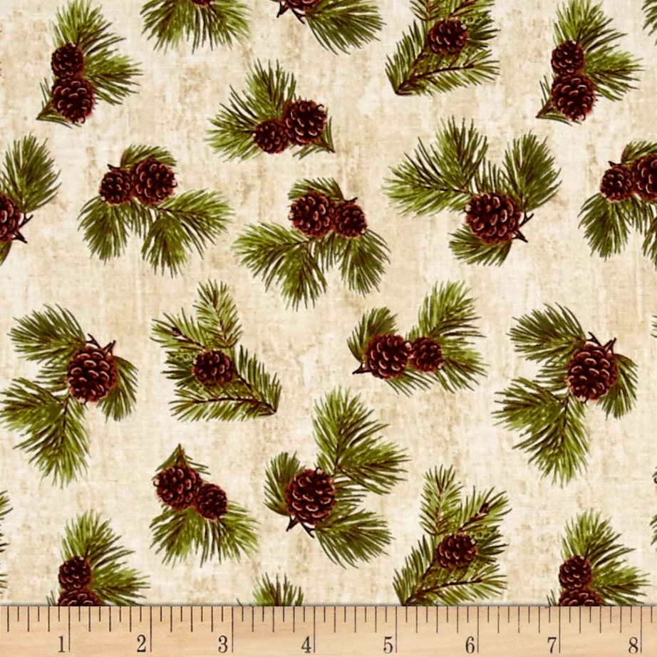 Penny Rose Majestic Outdoors Pinecone White Fabric by Christensen in USA