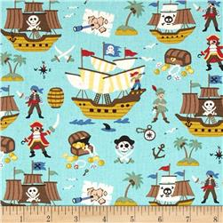 Kokka Trefle Linen Cotton Canvas Pirates Blue