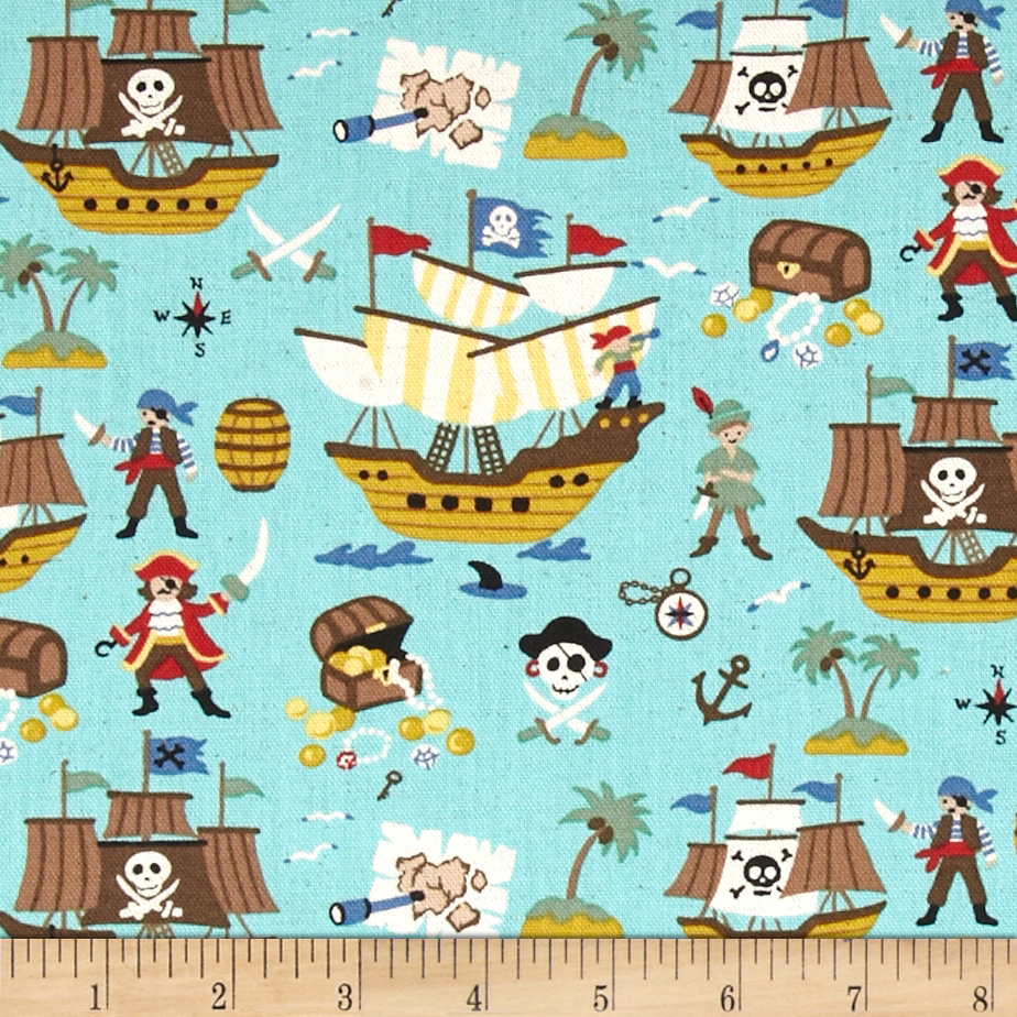 Kokka Trefle Linen Cotton Canvas Pirates Blue Fabric
