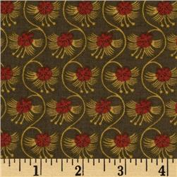 Moda Collections for a Cause Love Meandering Floral Walnut Brown