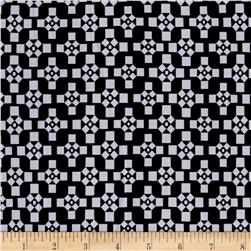 Stretch ITY Jersey Knit Abstract Pathway Black and White