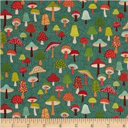 Forest Friends Toadstools Dark Green
