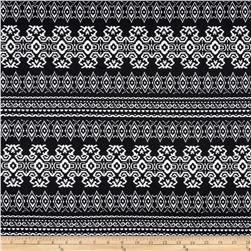 Stretch Ponte de Roma  Knit Aztec Print Black/White